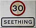 TM3197 : Seething Village Name sign on Wheelers Lane by Adrian Cable