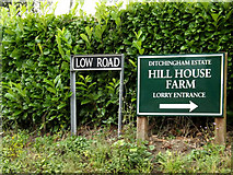 TM3193 : Low Road & Hill House Farm signs by Adrian Cable
