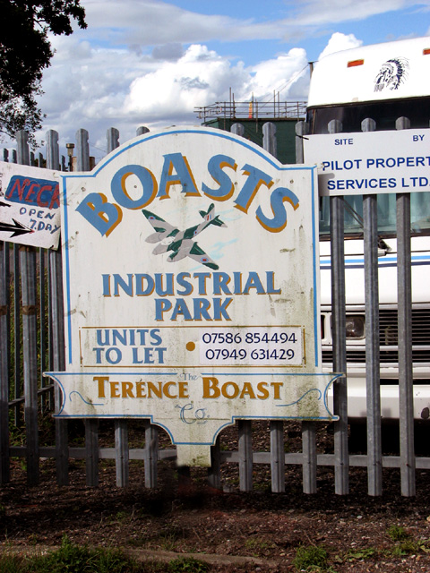 Sign at the entrance to Boast's Industrial Park
