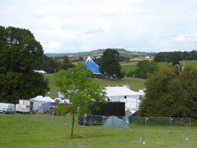 Escot Park, preparing for a music festival