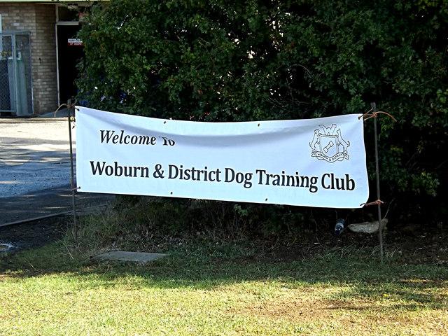 Woburn & District Dog Training Club sign