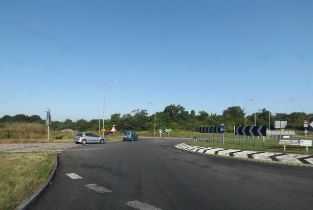 Roundabout junction with the A428 St.Neots Road