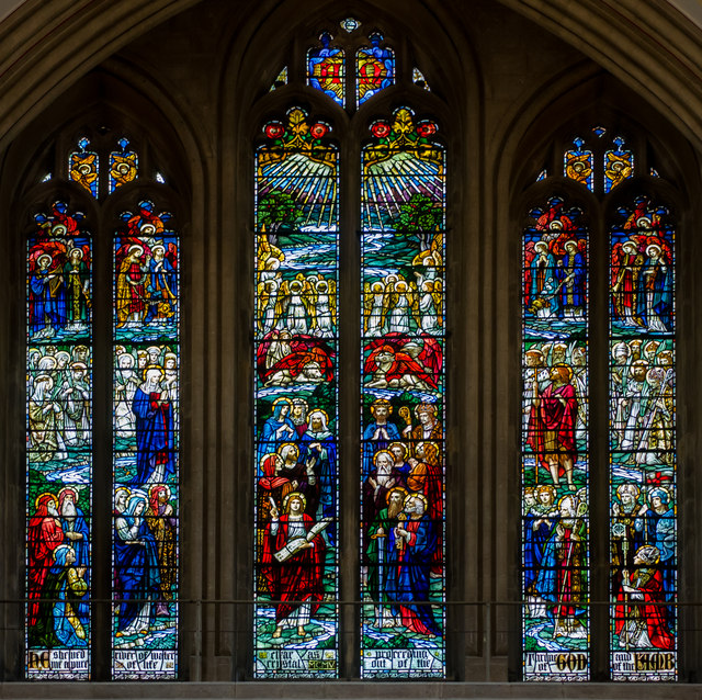 Stained glass window,  Wells Cathedral