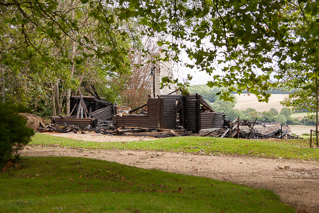 Longwood Shooting Lodge after fire