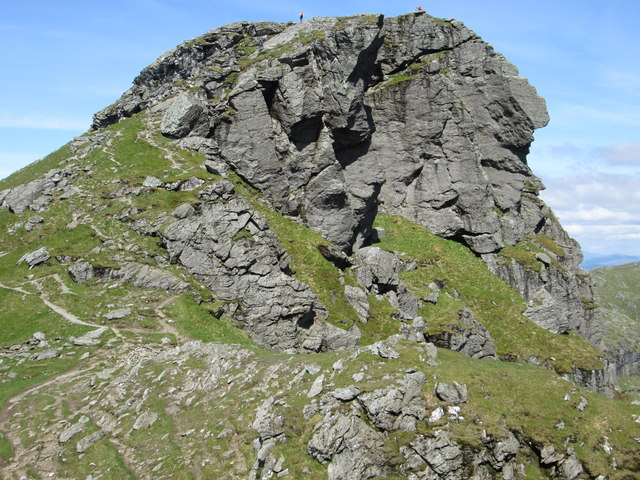 """Figures on the skyline of the north top of """"The Cobbler"""""""