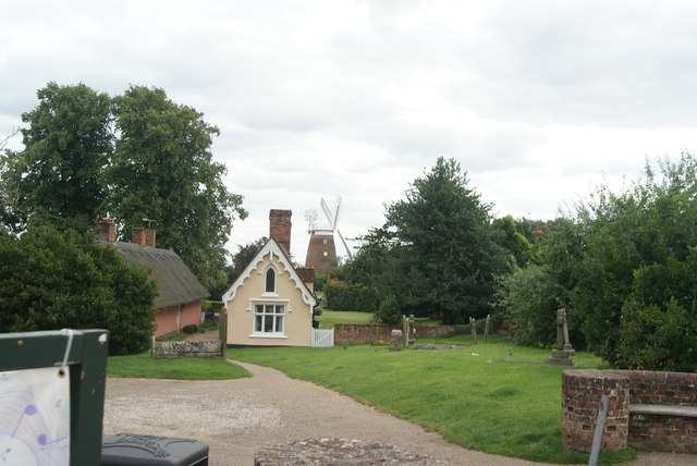 View of Thaxted Windmill from the path at the rear of the church