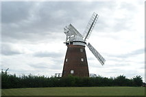 TL6030 : View of Thaxted Windmill from the field between the graveyard and the mill by Robert Lamb