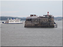 SZ6397 : Spitbank Fort rounded by Wightlink Ferry by Stuart Logan