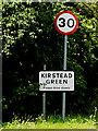 TM2996 : Roadsign & Kirstead Green Village Name sign by Adrian Cable