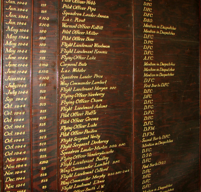 RAF Little Snoring - Awards and Honours board (detail)
