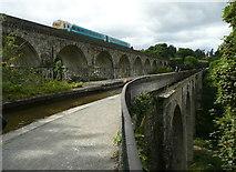 SJ2837 : Chirk aqueduct and railway viaduct by Humphrey Bolton