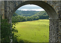 SJ2837 : View through the arch, Chirk railway viaduct by Humphrey Bolton
