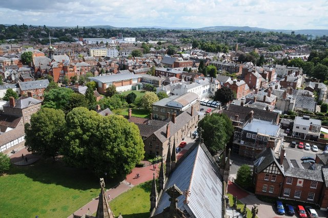 View to the east from Hereford Cathedral
