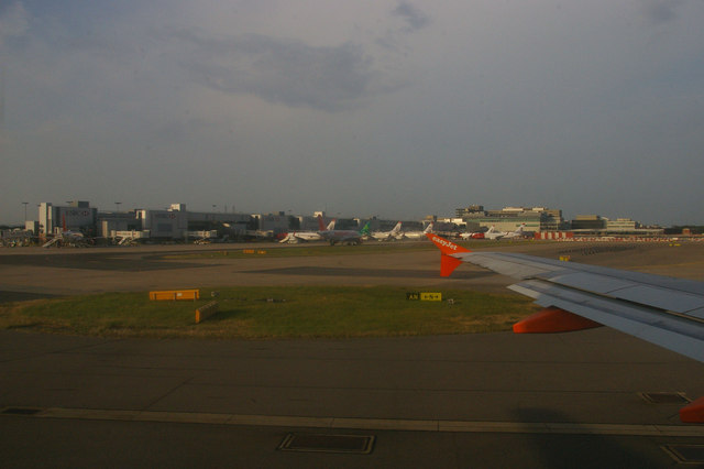 South terminal, Gatwick Airport, from an aircraft taxiing for take-off