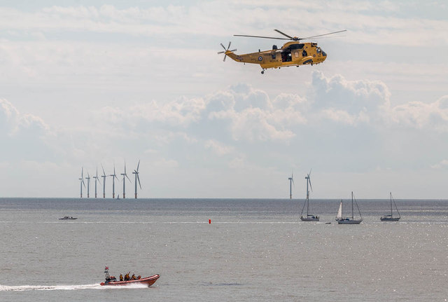 Helicopter and Lifeboat, Clacton, Essex