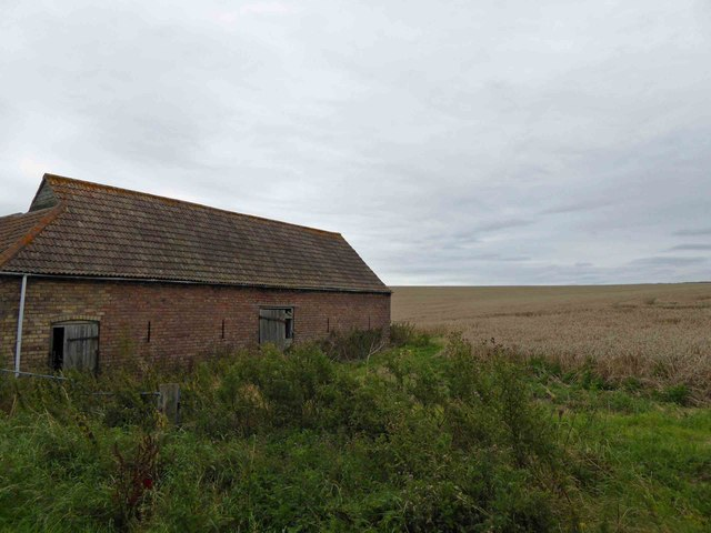 Old barn on narrow lane to North Ormsby