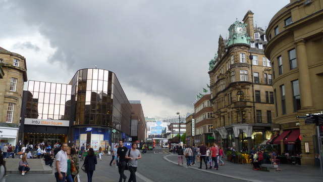 Summer storm brewing over central Newcastle upon Tyne in August