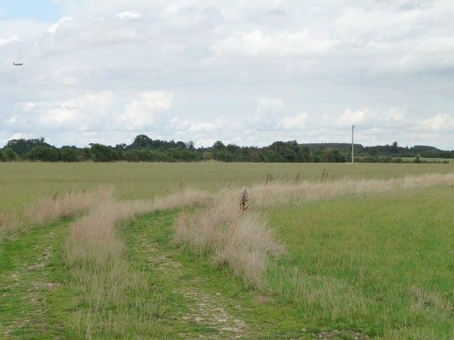 Track bending across a field, north of Filkins Farm