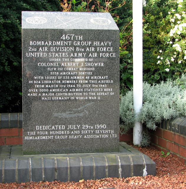 467th Bombardment Group memorial stone