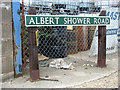 TG2813 : Albert Shower Road (road sign) by Evelyn Simak