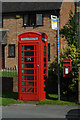 SO7409 : Phone box and post box in Saul by John Winder