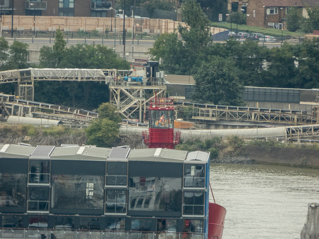 Lightship, Trinity Buoy Wharf, London, as seen from the Viewing Platform, O2 Arena, Greenwich