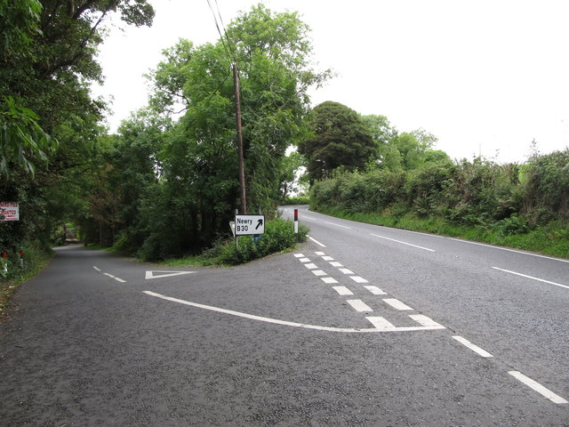 Drumalt Road at its junction with the B30 north of Silverbridge