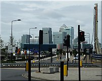 TQ4080 : Road junction and Canary Wharf towers by Rob Farrow