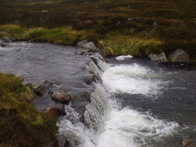 Waterfall over sill on River Eidart, Glenfeshie