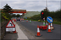 SD4764 : Temporary traffic lights, Slyne Road (A6) by Ian Taylor