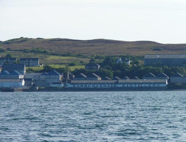 Bunnahabhain Distillery viewed from the sea, Islay