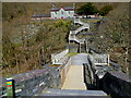 SH5860 : Flights of steps up to Quarry Hospital Visitor Centre, Padarn Country Park, Llanberis by Jaggery