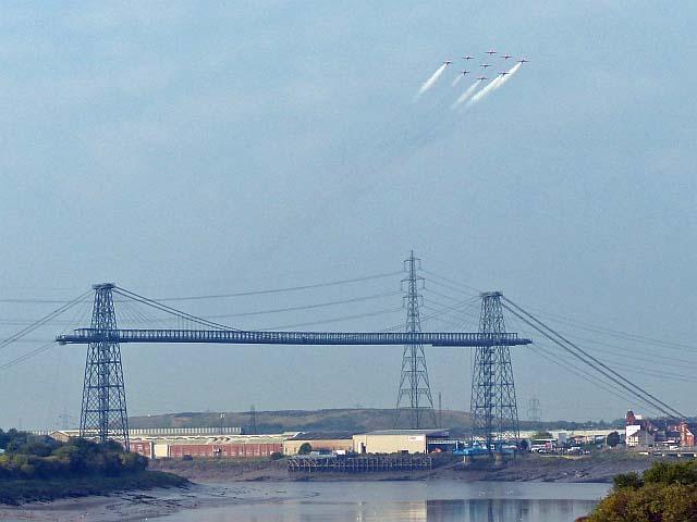 RAF Red Arrows over Newport Transporter Bridge by Robin Drayton