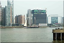 TQ3880 : View of Oosterschelde passing New Providence Wharf by Robert Lamb
