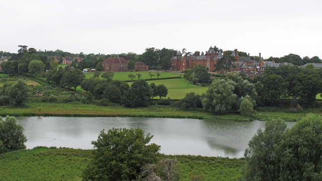 View from Framlingham Castle: The Mere and Framlingham College