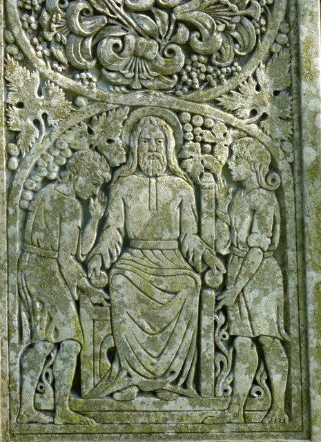 Detail on the Celtic-style cross marking John Ruskin's grave