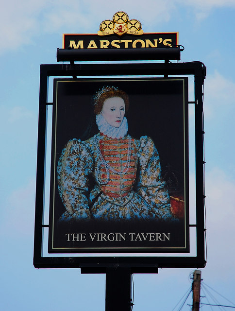 The Virgin Tavern (3) - sign, Tolladine Road, Tolladine, Worcester