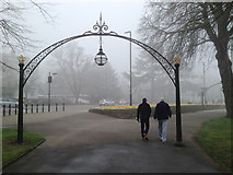 SP3165 : Foggy Leamington: Linden Walk and Lower Parade by Robin Stott