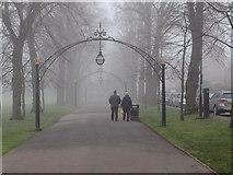 SP3165 : Foggy Leamington: Linden Avenue and Dormer Place by Robin Stott