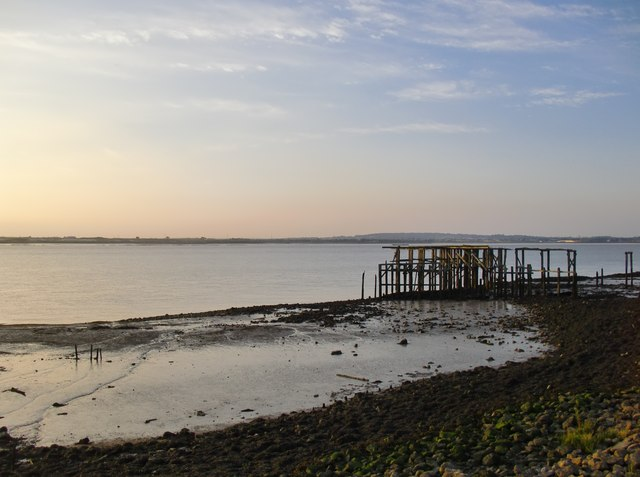 Derelict jetty on the Thames shore above Lower Hope Point