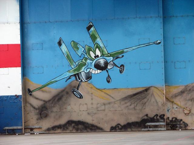 Detail of mural in hangar 1