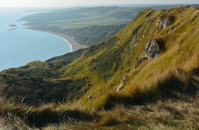 View of White Nothe Cliffs looking towards Ringstead Beach, Dorset