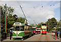 SK3455 : Blackpool trams in service at Wakebridge before the cavalcade by Alan Murray-Rust
