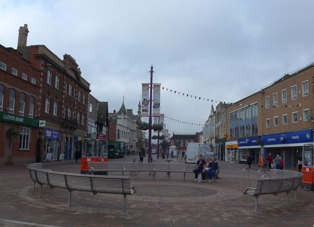 Market Place, Loughborough: mid September 2014