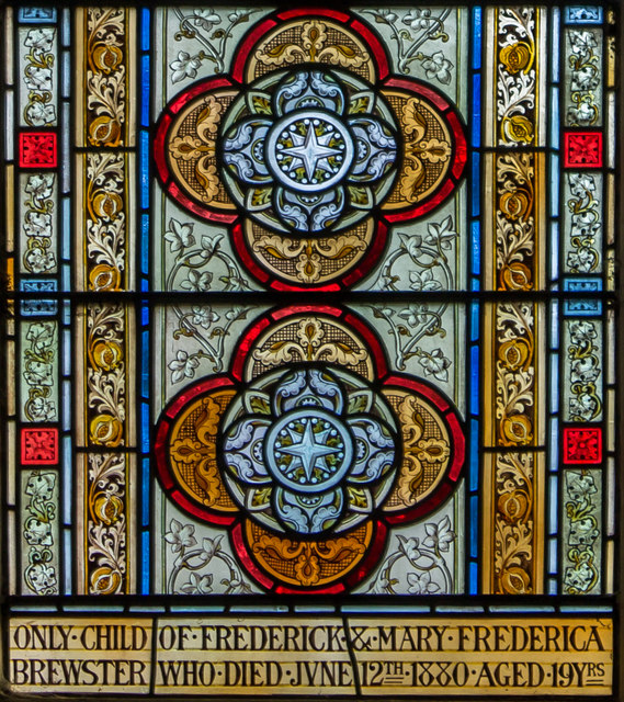 Stained glass window detail, St Mary's church, South Kelsey