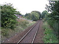 NS4040 : View south from Kilmaurs railway station by Peter Whatley