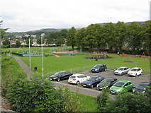 NS4075 : Car park & children's playground north of Dumbarton East station by Peter Whatley