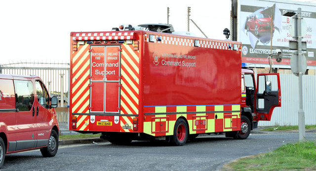 Fire Brigade command support vehicle , Belfast (September  2014)