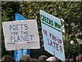 TQ3180 : Placards, Climate Change demonstration by Jim Osley