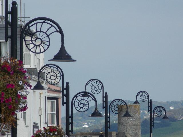 Lyme Regis: Jurassic lampposts on Marine Parade
